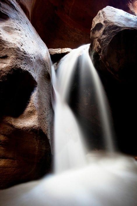 waterfall in utah with rocks