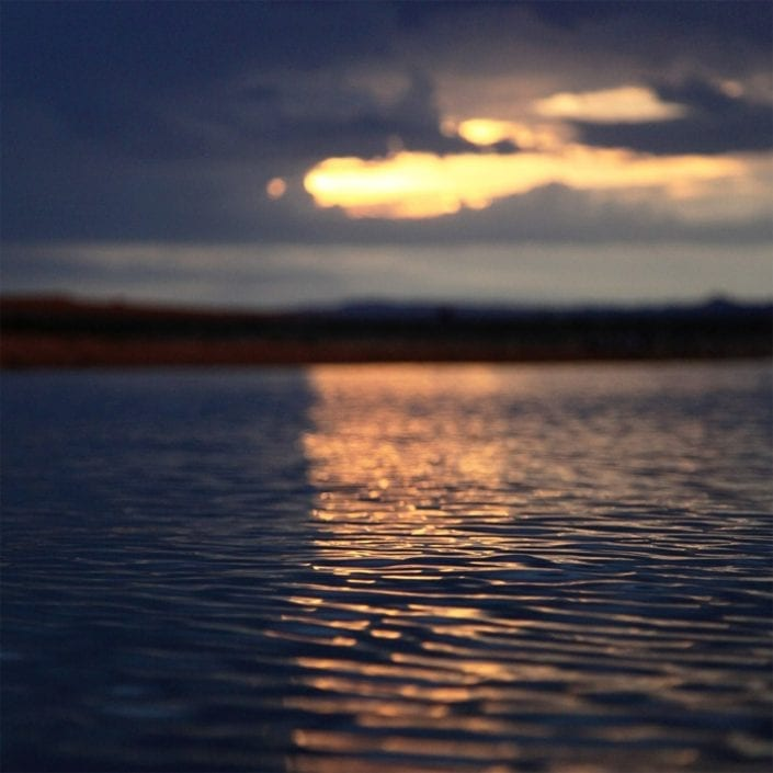 water in utah with sunset