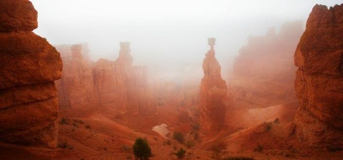 canyon in utah sky fog
